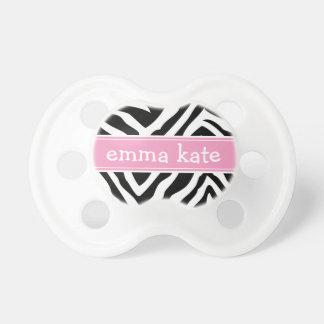 Schwarzer und rosa Zebra Stripes Monogramm Schnuller
