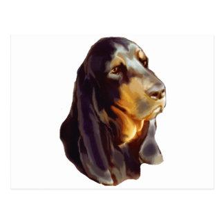 schwarzer und tan Waschbär Jagdhund Postkarte