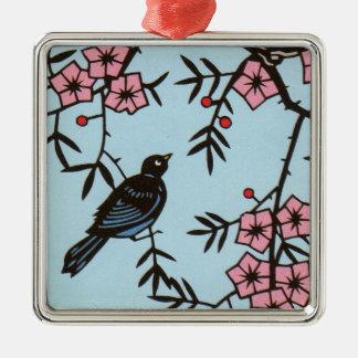 Schwarzer Vogel im rosa Kirschblüten-Baum auf Blau Silbernes Ornament