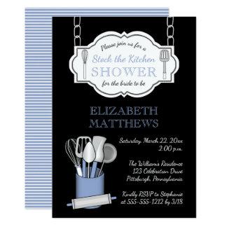Schwarzer Vorrat lt-Blue   das Küchen-Brautparty Karte