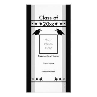 Schwarzer, weißer und grauer Abschluss Individuelle Photo Karte