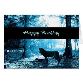 Schwarzer Wolf-alles Gute zum Geburtstag Karte