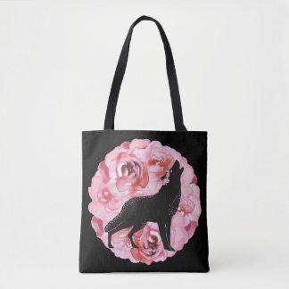 Schwarzer Wolf mit rosa Rosen-Taschen-Tasche Tasche