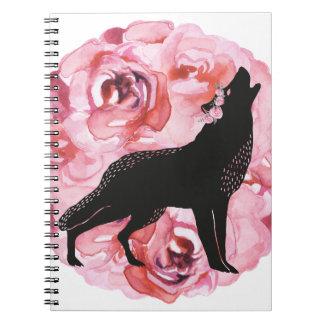 Schwarzer Wolf mit rosa Rosen-Weiß-Notizbuch Spiral Notizblock