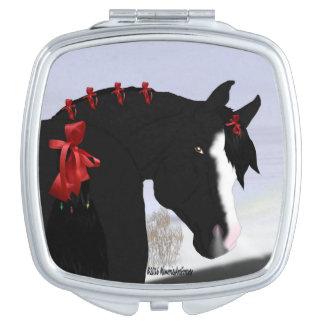 Schwarzes arabisches Pferd Schminkspiegel