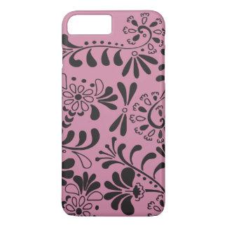 Schwarzes auf rosa abstrakten Blumen iPhone 8 Plus/7 Plus Hülle