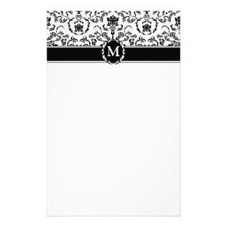 Schwarzes auf weißem Damast Briefpapier