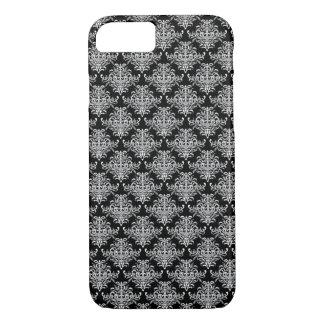 Schwarzes barockes Muster iPhone 8/7 Hülle