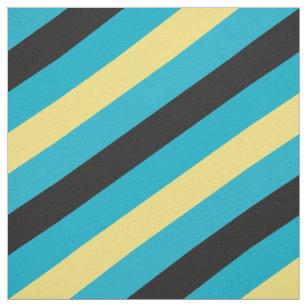 Schwarzes, blaues und gelbes gestreiftes Muster Stoff