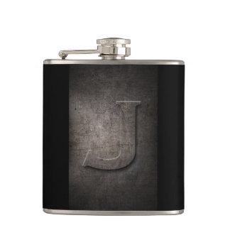 Schwarzes Bronzemetall - Flasche des Monogramm-J Flachmann