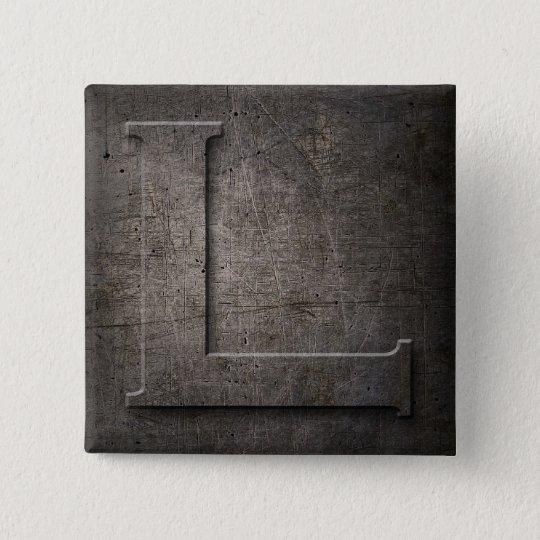 Schwarzes Bronzemetall L Monogrammquadrat Knopf Quadratischer Button 5,1 Cm