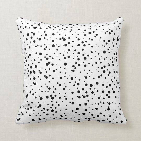 Schwarzes Confetti-Punkt-Muster auf Weiß Kissen