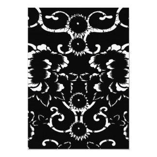 Schwarzes Damast-Hochzeits-Menü Karte