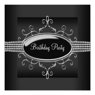 Schwarzes der Geburtstags-Party der schwarzer Quadratische 13,3 Cm Einladungskarte