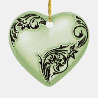 Schwarzes des Herz-Rolle-weiches Grün-w Keramik Herz-Ornament