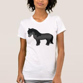 Schwarzes die Cartoon-Shetlandinseln-Pony T-Shirt