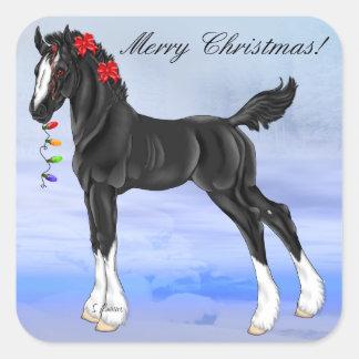 Schwarzes Entwurfs-Pferdefohlen-Weihnachten Quadratischer Aufkleber