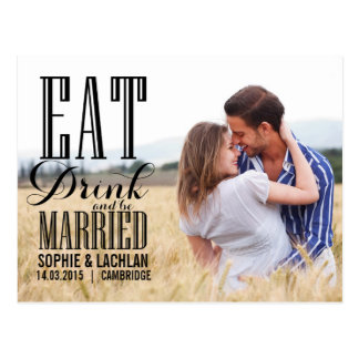Schwarzes essen Getränk ist verheiratete Postkarte