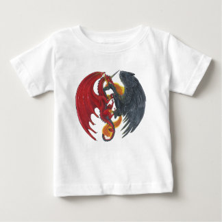 Schwarzes Feuer-Einhorn und roter Drache Baby T-shirt