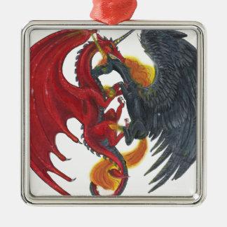 Schwarzes Feuer-Einhorn und roter Drache Silbernes Ornament