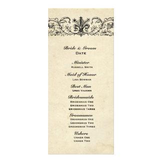 Schwarzes Fleur Hochzeits-Programm Karten Druck