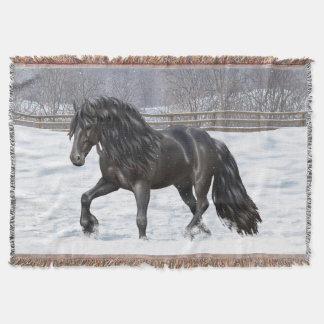 Schwarzes friesisches Entwurfs-Pferd Decke