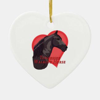 Schwarzes gehendes Pferdeherz Tennessees Keramik Ornament