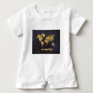 schwarzes Gelb der Weltkarte Baby Strampler