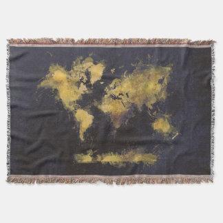 schwarzes Gelb der Weltkarte Decke