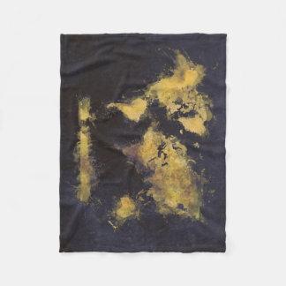 schwarzes Gelb der Weltkarte Fleecedecke