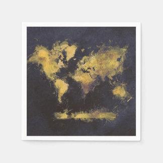 schwarzes Gelb der Weltkarte Papierserviette