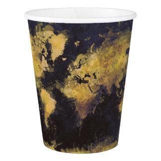 schwarzes Gelb der Weltkarte Pappbecher