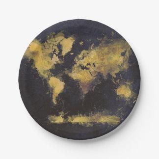 schwarzes Gelb der Weltkarte Pappteller