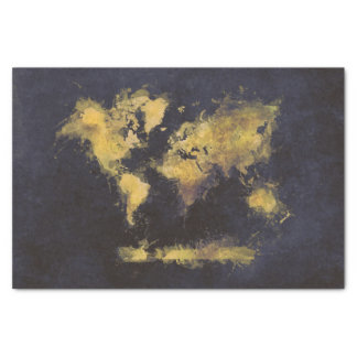 schwarzes Gelb der Weltkarte Seidenpapier