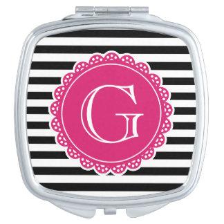 Schwarzes gestreiftes Muster-Pink-Monogramm Taschenspiegel
