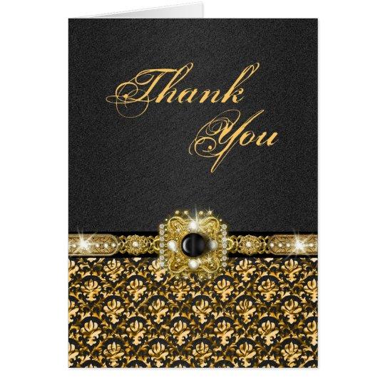"""Schwarzes Gold """"danken Ihnen"""" Hochzeitsdamast Grußkarte"""