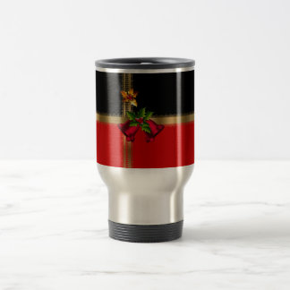 Schwarzes Gold frohe Weihnacht-Feiertags-rotes Reisebecher
