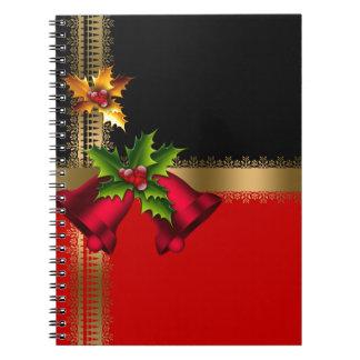 Schwarzes Gold frohe Weihnacht-Feiertags-rotes Spiral Notizblock