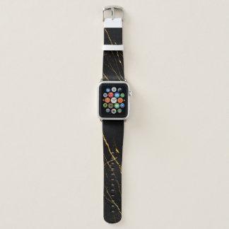 Schwarzes, Gold, Marmor, Stein, Natur, natürlich, Apple Watch Armband