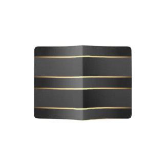 Schwarzes Gold Stripes Muster Passhülle