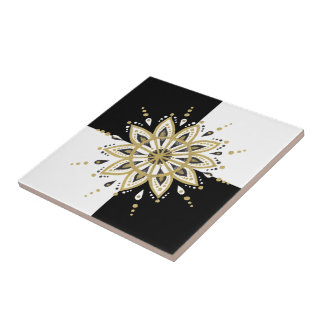 Schwarzes Gold- u. der weißen Mandalageometrischer Keramikfliese