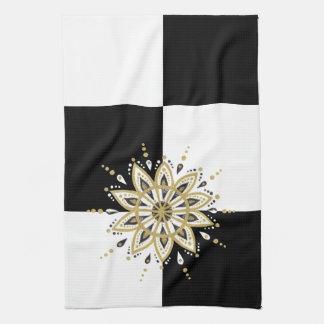 Schwarzes Gold- u. der weißen Mandalageometrischer Küchentuch