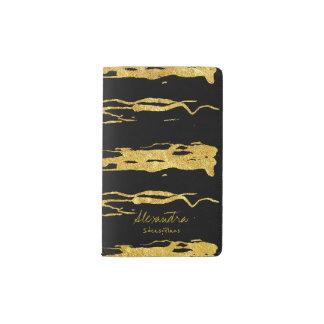 Schwarzes Goldhandgemalter Moleskine Taschennotizbuch