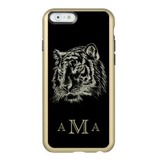 Schwarzes Goldtiger-Monogramm Incipio Feather® Shine iPhone 6 Hülle