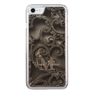 Schwarzes gotisches Mustermonogramm Carved iPhone 8/7 Hülle