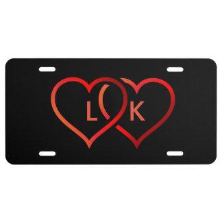 Schwarzes Herz-Kfz-Kennzeichen US Nummernschild