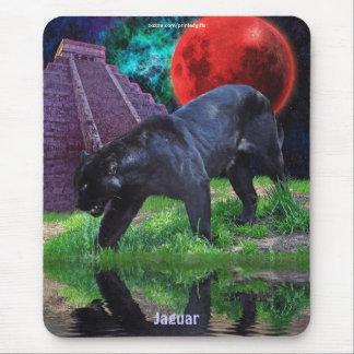 Schwarzes Jaguar u. Chichen Itza Tempel u. Mousepad