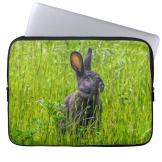 Schwarzes Kaninchen in der Graslaptophülse Laptopschutzhülle
