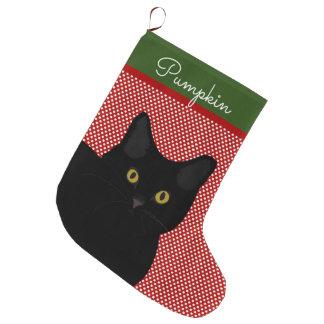Schwarzes kurzes Haar-Katzen-Gelb mustert Großer Weihnachtsstrumpf