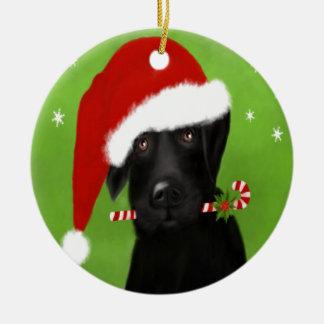 Schwarzes Labrador - lustiger Weihnachtshund Keramik Ornament